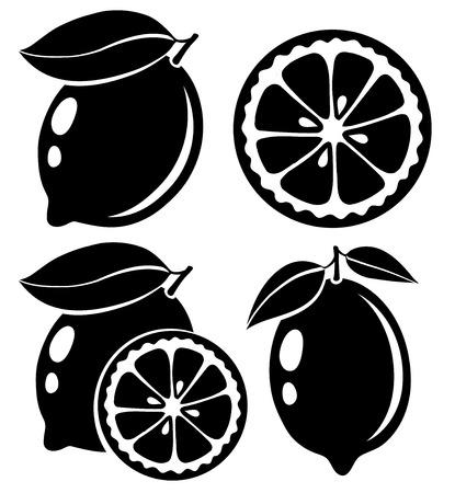 Illustration pour Lemon black and white vector illustration - image libre de droit