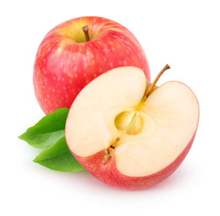 Photo for Isolated apple. Cut red apple fruits isolated on white background - Royalty Free Image