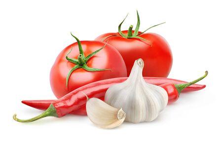 Foto für Isolated vegetables. Fresh tomatoes, garlic and chili pepper (arabbiata souce ingredients) isolated on white background - Lizenzfreies Bild
