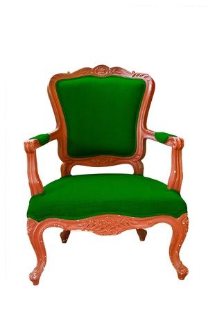 antique green armchair