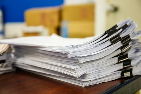 A pile of documents Desk