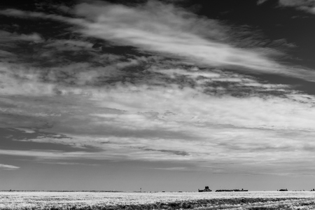 Foto per Clouds over Fife scottish countryside landscape in black and white - Immagine Royalty Free