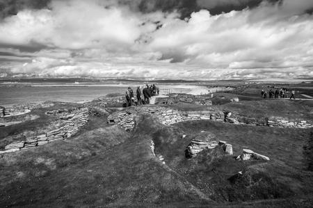Foto per Skara Brae, black and white, Orkney islands - Immagine Royalty Free