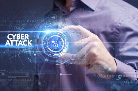 Foto de Business, Technology, Internet and network concept. Young businessman working on a virtual screen: cyber attack - Imagen libre de derechos