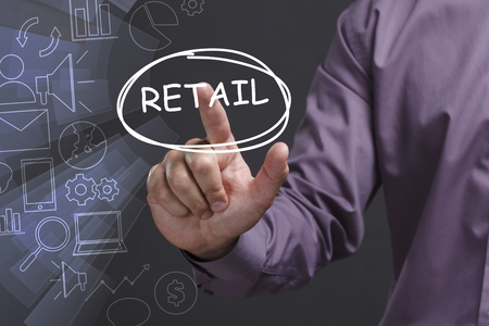 Business, Technology, Internet and network concept. Young businessman shows the word: Retail
