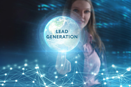 Photo pour The concept of business, technology, the Internet and the network. A young entrepreneur working on a virtual screen of the future and sees the inscription: Lead generation - image libre de droit