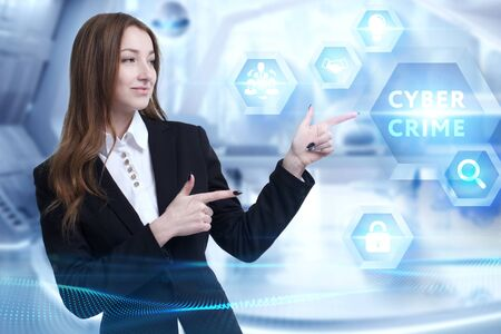 Photo pour Business, Technology, Internet and network concept. Young businessman working on a virtual screen of the future and sees the inscription: Cyber crime - image libre de droit