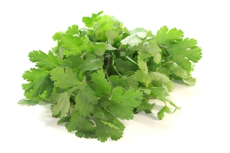 a bunch of fresh coriander on a white background