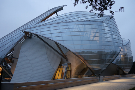 modern glas building with sails in paris