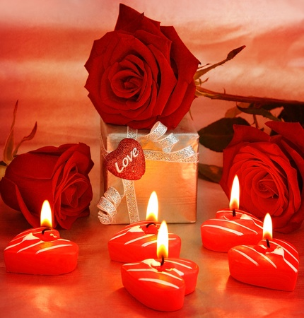 Photo for Romantic gift & red roses with candles, love concept - Royalty Free Image