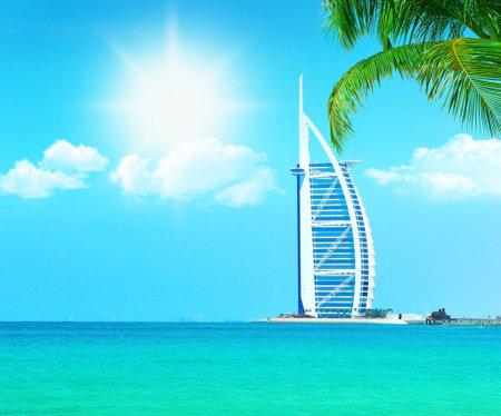 Photo pour Dubai paradise beach resort with clean sea water, conceptual image of vacation & holidays - image libre de droit