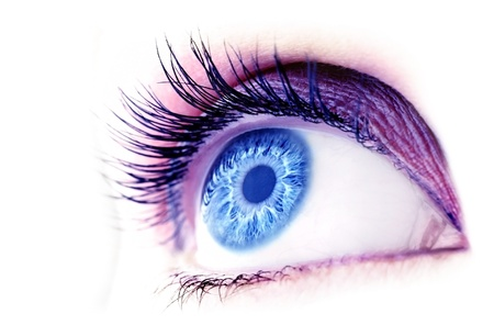 Beautiful abstract blue eye, extreme closeup, with fashionable makeup