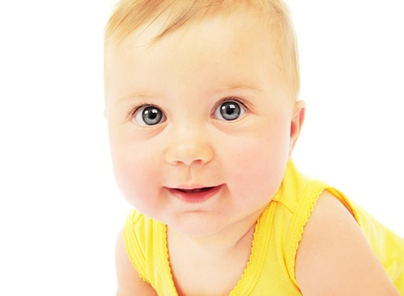 Photo pour Cute baby face portrait isolated on white background - image libre de droit