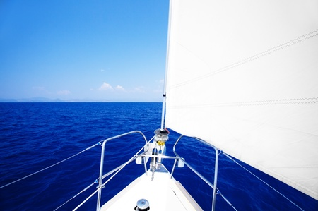 Sailboat at open blue sea, parts of a luxury boat , extreme sport, freedom concept