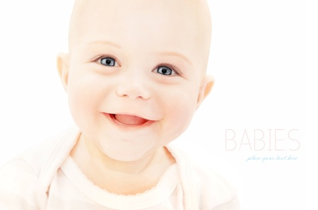 Photo pour Happy baby laughing, closeup on cute little child face, healthy kid portrait isolated on white background, happiness concept  - image libre de droit