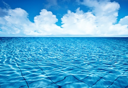 Endless pool water with blue sky background, fresh natural ...