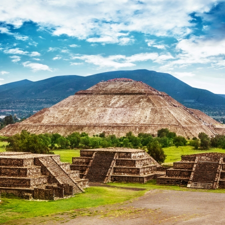 Pyramids of the Sun and Moon on the Avenue of the Dead Teotihuacan ancient historic cultura
