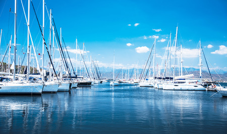 Photo for Sailboat harbor, many beautiful moored sail yachts in the sea port, modern water transport, summertime vacation, luxury lifestyle and wealth concept - Royalty Free Image