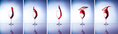 Collage of wine glasses, beautiful five glasses with different pouring over blue and white background, slow motion