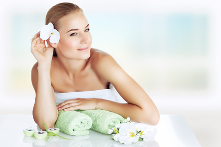 Portrait of a beautiful young woman enjoying day spa, spending time at luxury beauty clinic, skincare and aromatherapy, alternative medicine conceptの写真素材
