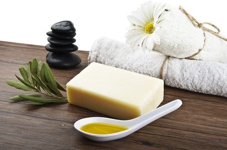 soap with olive oil and leaf