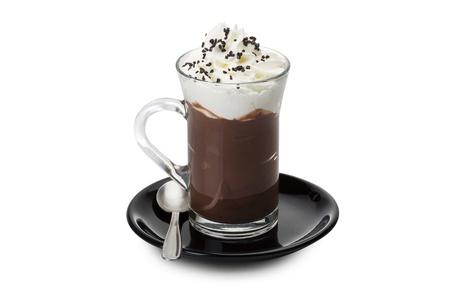 Photo pour Hot chocolate close up on the white  - image libre de droit