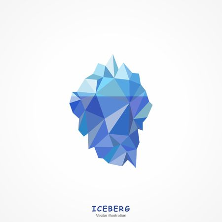 One Blue Iceberg on a white background. Vector illustration