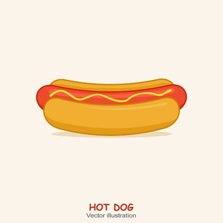 Hot Dog with shadow in flat style. Vector Illustration