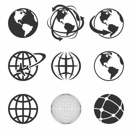 Ilustración de Globe Earth black Icons Set. Vector Illustration. - Imagen libre de derechos