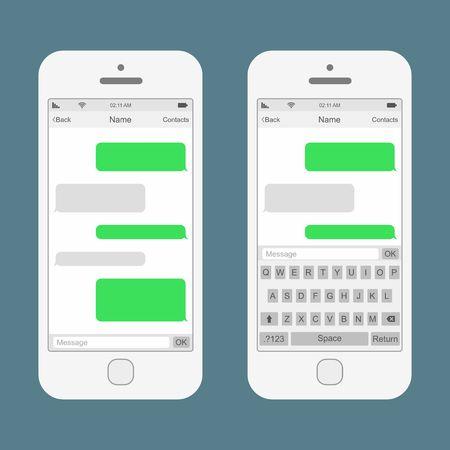 Ilustración de Smartphone chatting SMS Messages speech Bubbles. Vector Illustration - Imagen libre de derechos