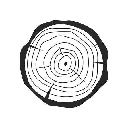 Illustration pour Cross section of tree stump in flat style isolated on white background. Tree trunk cross section natural cut wood slice circle timber ring. illustration - image libre de droit