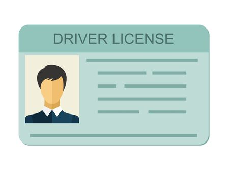 Illustration pour Car driver license identification with photo isolated on white background, driver license vehicle identity in flat style. - image libre de droit