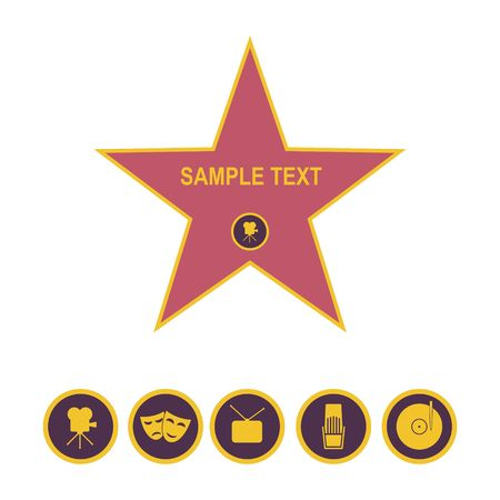 Walk of fame star and icons isolated on white background. Five category signs vector illustration