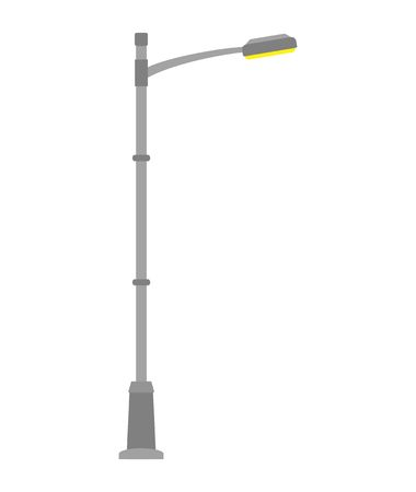 Ilustración de Street light isolated on white background. Outdoor Lamp post in flat style. Vector illustration - Imagen libre de derechos