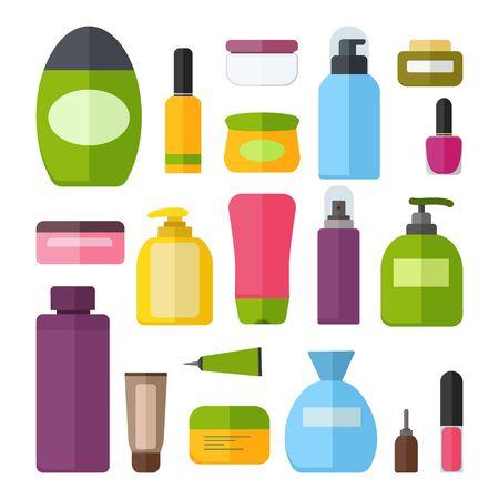 Illustration pour Set of vector colorful cosmetic bottles. - image libre de droit