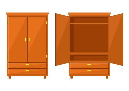 Illustration pour Open and closet wardrobe isolated on white background .Natural wooden Furniture. Wardrobe icon in flat style. Room interior element cabinet to create apartments design. Vector illustration - image libre de droit