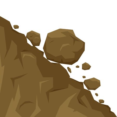 Illustration pour Landslide isolated on white background, stones fall from the rock. Boulders rolling down a hill. Rockfall vector illustration - image libre de droit