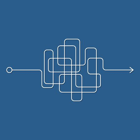 Illustration pour Insane messy line, complicated clew way on blue background. Tangled scribble path, chaotic difficult process way. Curved white line, solving a complex problem or quest. Vector illustration - image libre de droit