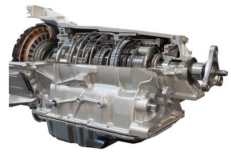 Photo pour Cutaway transmission: clutch and gearbox of the truck showing inside - image libre de droit