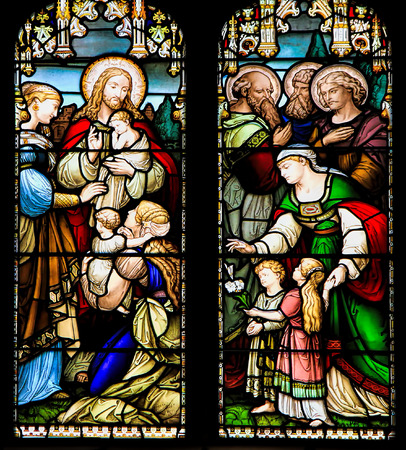 Photo for EDINBURGH, SCOTLAND - OCTOBER 02, 2014: Stained glass window illustrated Bible stories in the  St Giles - Royalty Free Image