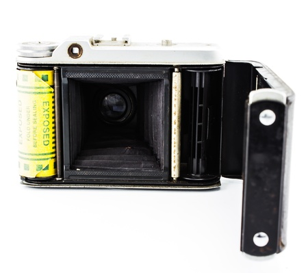 Antique film camera white background.