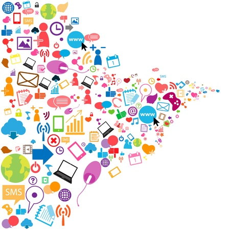 Illustration for Social network background with media icons - Royalty Free Image