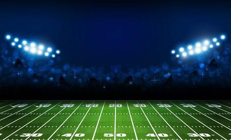 Illustration pour American football arena field with bright stadium lights design. Vector illumination - image libre de droit