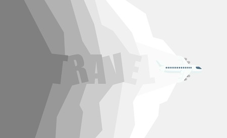 aircraft in the travel on background color, vector illustration