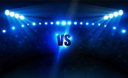 Illustration for Football arena field with bright stadium lights vector design Vector illumination - Royalty Free Image