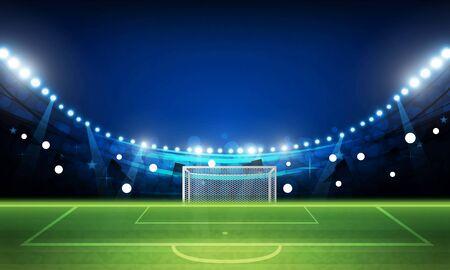 Illustration pour Football arena field with bright stadium lights vector design Vector illumination - image libre de droit
