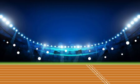 Illustration for Running track arena field with bright stadium lights at night vector design - Royalty Free Image