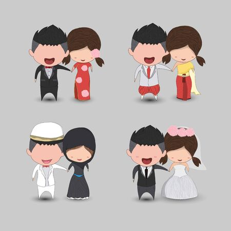 Illustration pour Set cute cartoon Wedding couple men and women marriage, cute Valentine's Day card, drawing by hand vector  design - image libre de droit