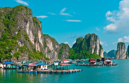 View of floating village in Halong Bay, Vietnam, Southeast Asia