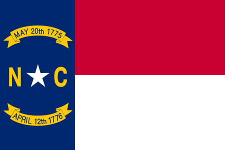 North Carolinian official flag, symbol. American patriotic element. USA banner. United States of America background. Flag of the US state of North Carolina in correct size, colors, vector illustration